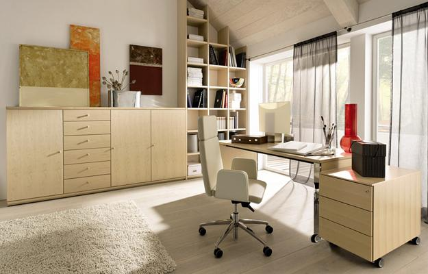 Modern Home Office Design With Furniture On Casters