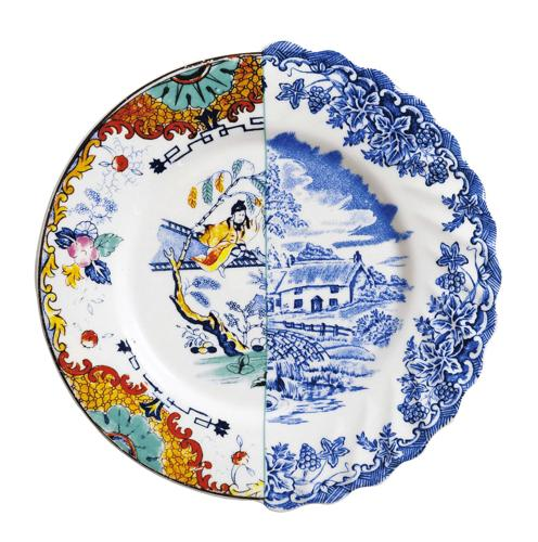 Colorful porcelain plate designed like made from two different plates  sc 1 st  Lushome & Modern Tableware Design Ideas by Seletti Bring Surprising ...