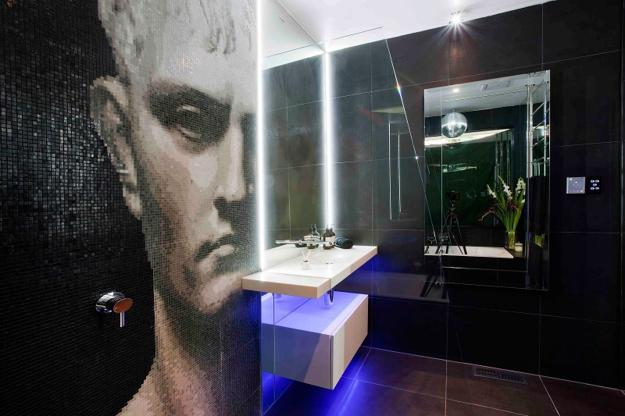 contemporary bathroom design with glass mosaic tile design