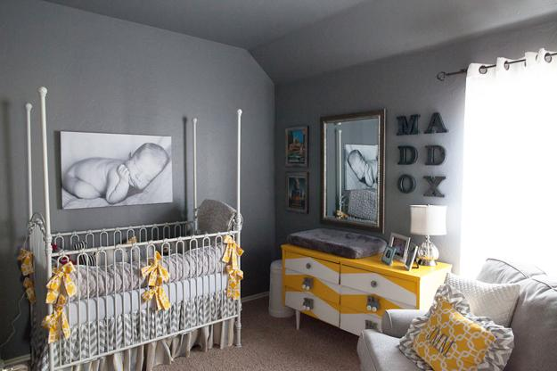 Baby Room Design In Gray And Yellow Colors With Large