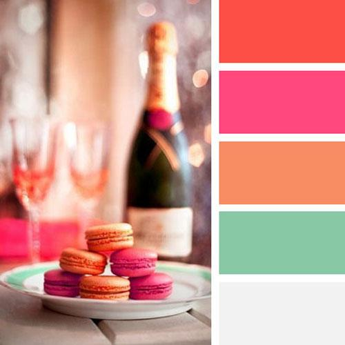 Festive And Bright Orange Color Scheme With Pink Red Pastel Blue Green