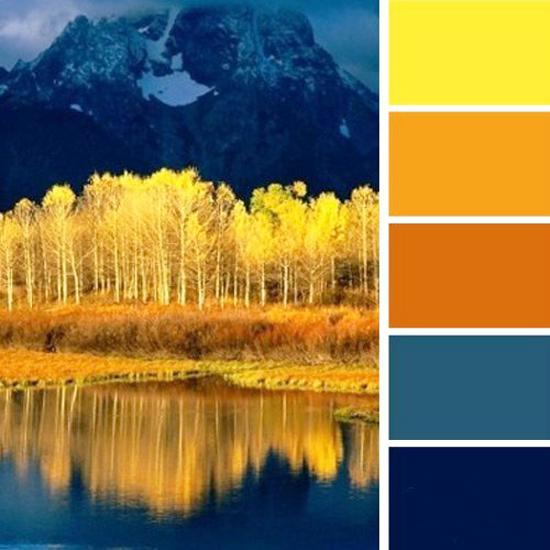 Bright Yellow Blue And Orange Color Scheme Inspired By Gorgeous Fall Leaves