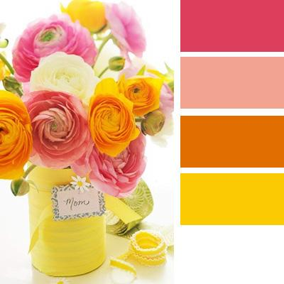 Yellow Pink And Orange Color Schemes For Bright Cheerful Warm Interior Decorating Inspired By Beautiful Flowers