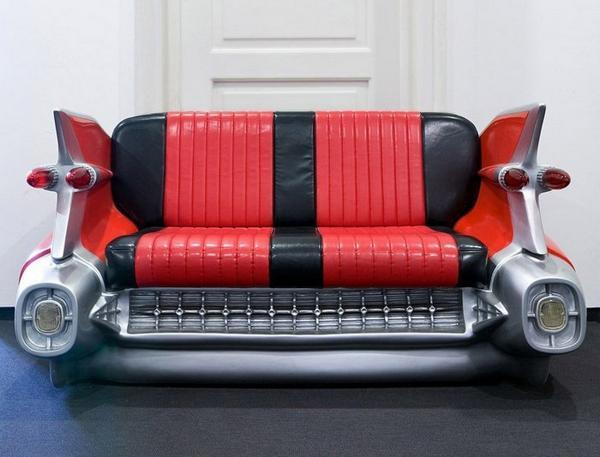 Red And Black Leather Sofa Recycling Old Car Seats