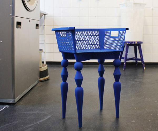 plastic recycling ideas for unique furniture, chairs in bright colors with plastic basket seats