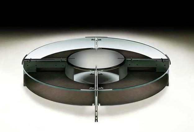 round glass top coffee table with metal details
