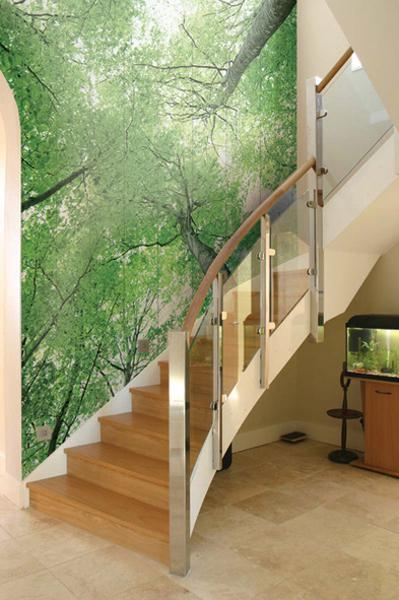 Good Trees Photo Wallpaper For Staircase Decorating