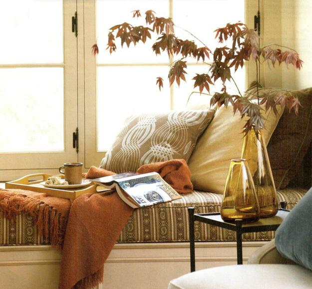 diy window seat with cushions, storage and decorative pillows