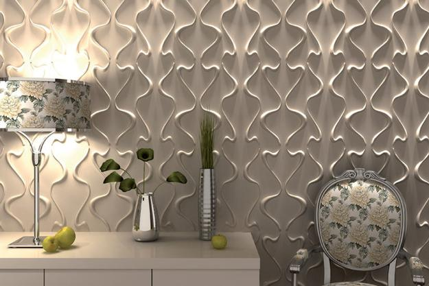 Accent Wall Design With Decorative Wall Paneling, 3d Carved Wood Wall Panels  In White Color