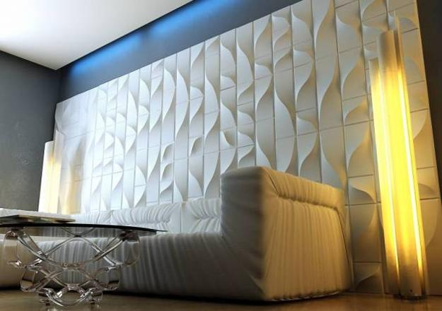 Contemporary Interior Design With Carved Wood Decorative Wall Paneling