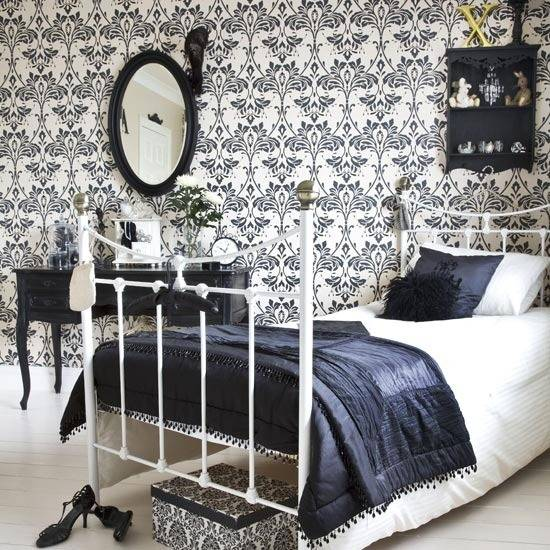 Black And White Decorating Ideas Bedroom Wallpaper Bedding Fabrics