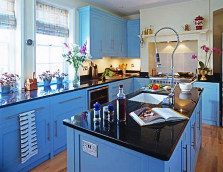 Modern Blue Paint Color For Wooden Kitchen Cabinets, Latest Trends In Color  Design