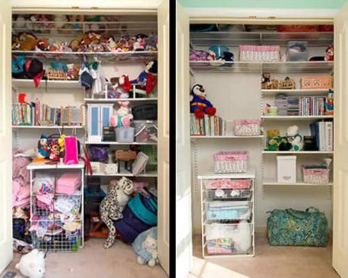 Cluttered Closet Before And After Decluttering Organizing Tips