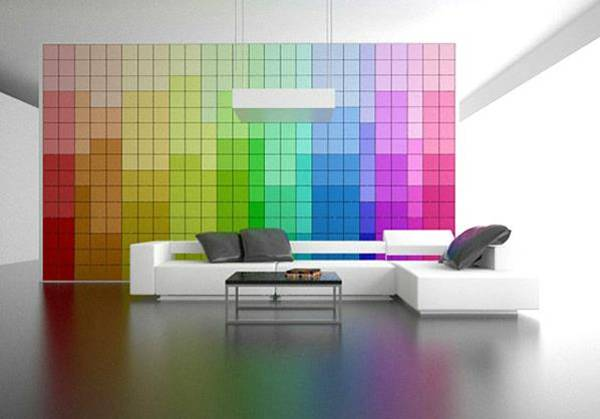 The Pixel wall design in rainbow color combination & Modern Interior Design with Breathtaking Rainbow Color Combinations