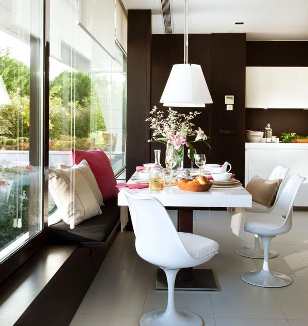 modern kitchen interior with glass wall design