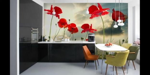 floral designs, red poppy flowers for room decorating