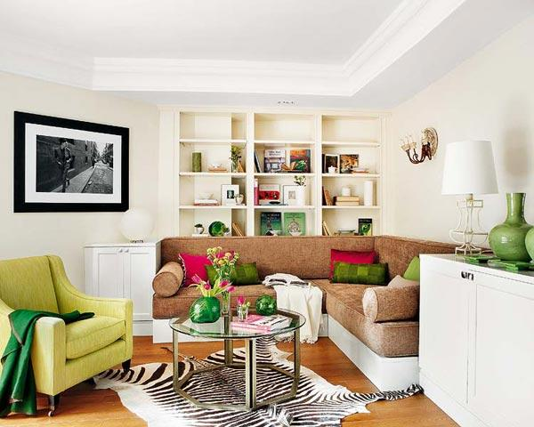 Modern Interior Design Ideas, Living Room In Neutral Colors With Bright Red  And Green Color Accents