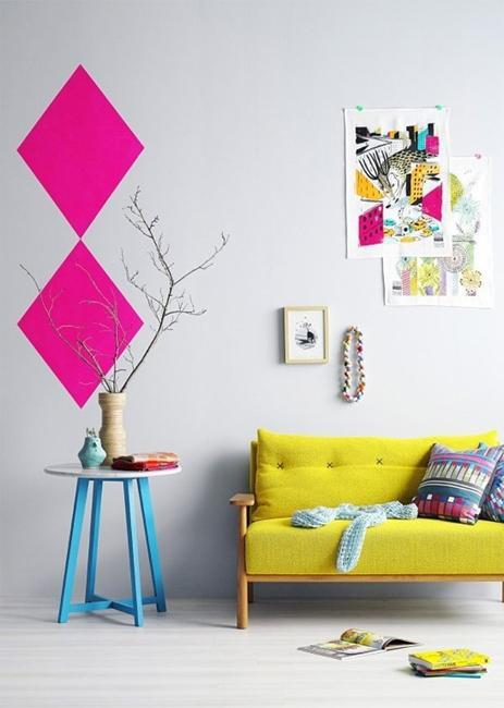 modern interiors with bright accents in neon colors