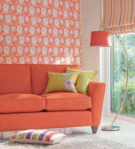 orange color for living room design and decor