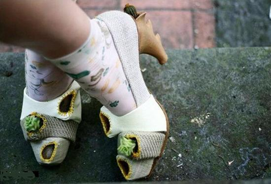 designer shoes with small plants