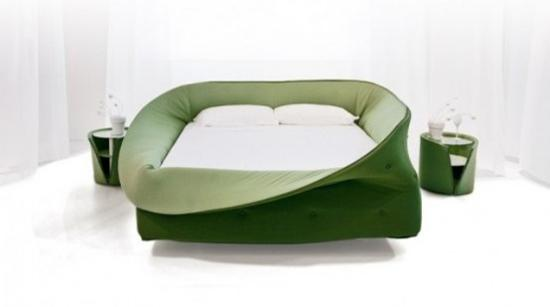 unusual furniture designs. Contemporary Bed Frame Made Of Soft Fabric-like Material In Green Color, Unique Furniture Design Ideas Unusual Designs