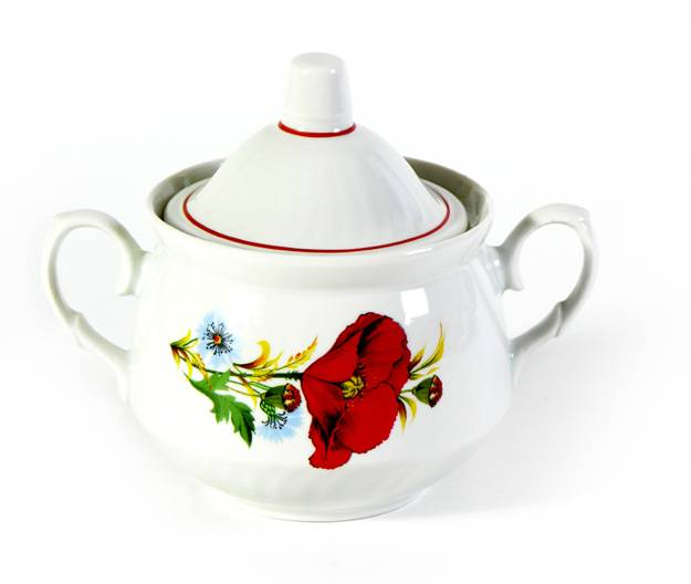 modern tableware and kitchenware with red poppy floral designs