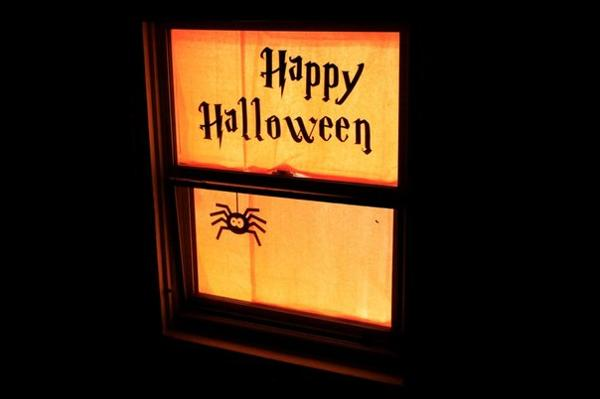 halloween decorations for windows, glowing silhouettes