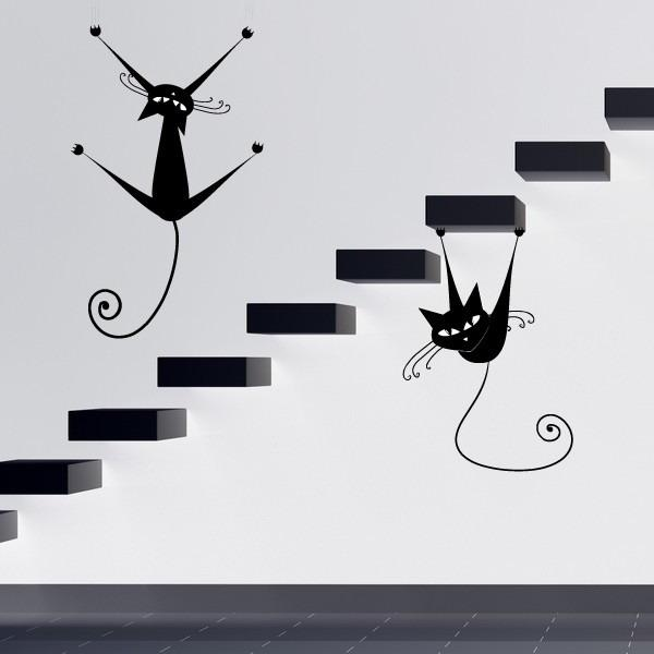 Funny Black Cat Wall Stickers For Staircase Decorating