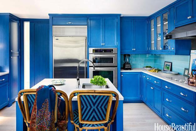 modern kitchen design and decor in blue color