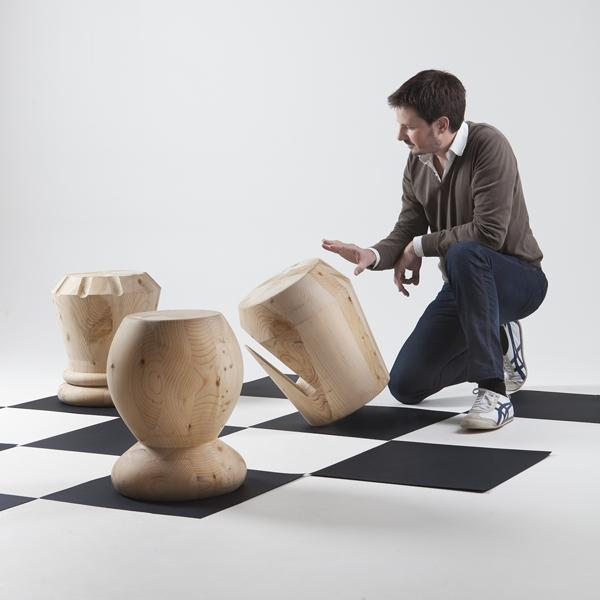log furniture, stools inspired by chess pieces