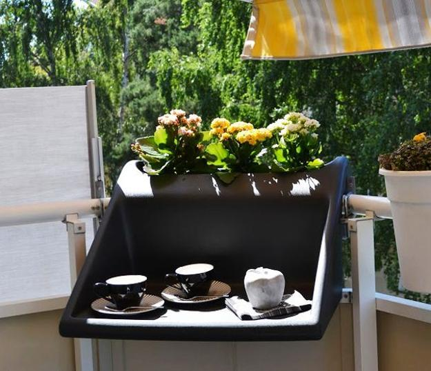 17 Elegant Gates To Transform Your Yard Into Inviting Place: Space Saving Hanging Table Adding Comfort To Small Balcony