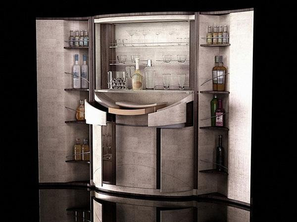 Elegant Home Bar Furniture Design Idea Adds Striking Luxury Of Gold