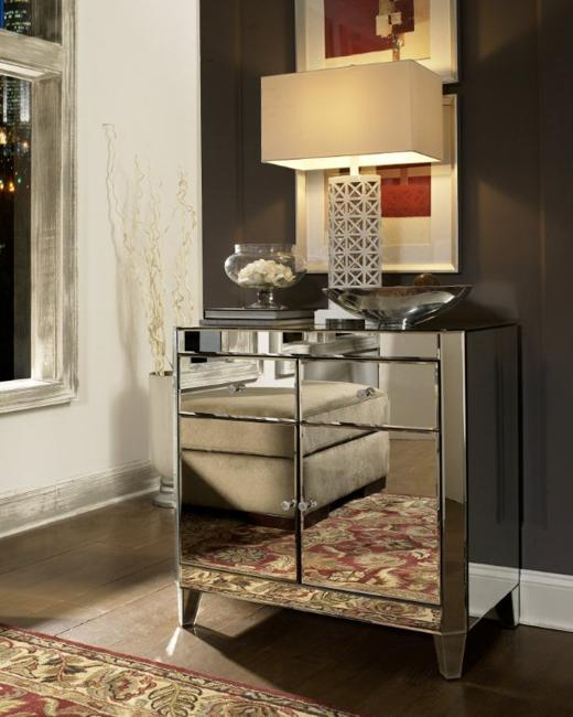 Modern Interior Decorating With Mirrored Furniture And Table Lamps