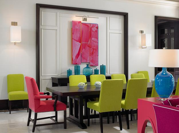 Modern Dining Room Decorating With Bright Colors
