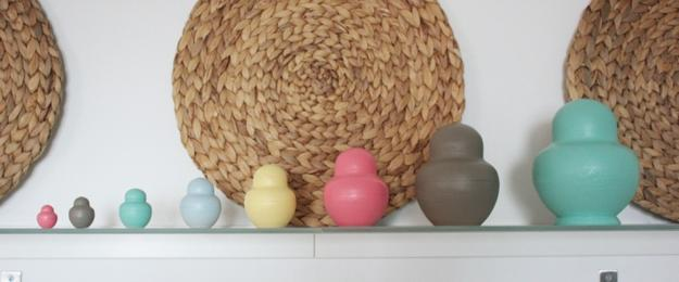 how to make home decorations, hand painted wooden russian dolls and colorful wooden objects