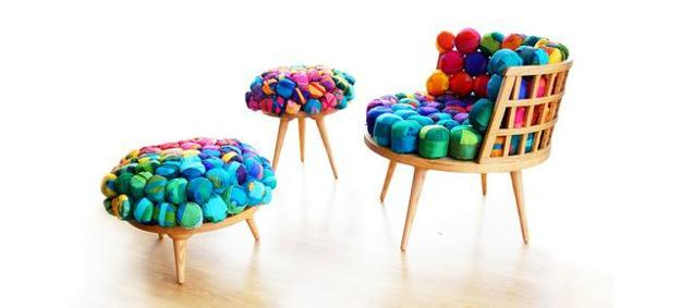 unique furniture with recycled silk seats