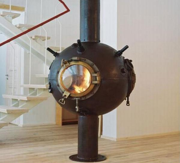 metal furniture created from old naval mines shells