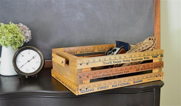storage furniture and decorative containers created with rustic wood boxes