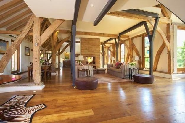 open interior design with exposed beams
