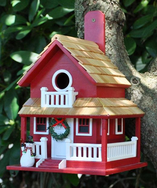 amazing birdhouses built with salvaged wood and adorned with miniature christmas decorations - Bird House Christmas Decoration