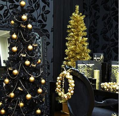 black christmas tree with golden ornaments and garlands
