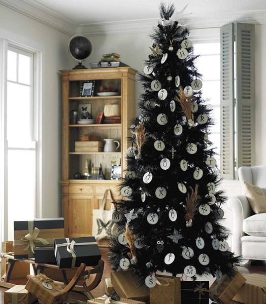 black christmas tree decorating with handmade white ornaments and gift boxes in black and brown colors - Black And White Christmas Tree Decorations
