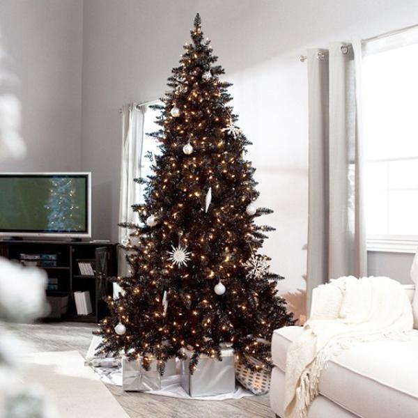 black and white christmas tree decorating ideas - Modern Christmas Tree Decorations