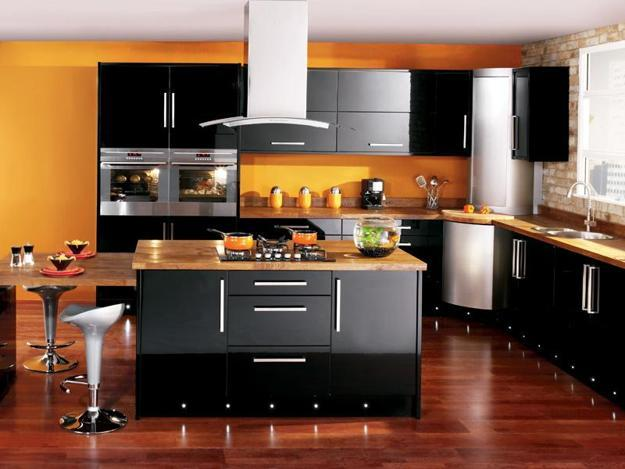 Black Kitchen Design Ideas. Black Kitchen Cabinets, Rich Yellow Accent Wall  And Wooden Floor