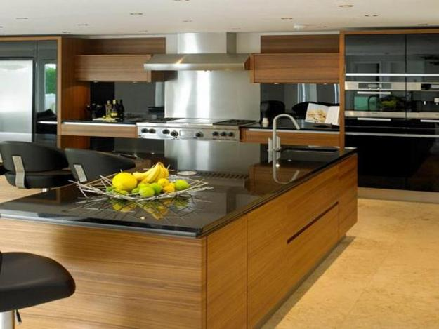 Black And White Kitchen Design With Wooden Dining Furniture Stainless Steel Liances