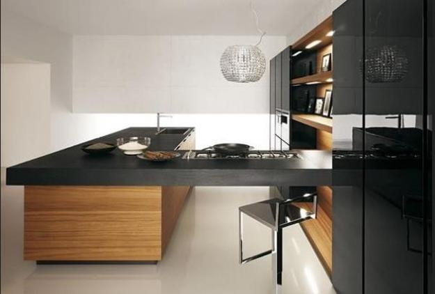 Black And White Kitchen Design With Wooden Dining Furniture And Stainless  Steel Appliances
