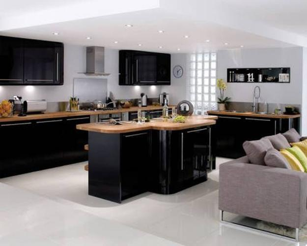 Modern Kitchen Design With Wooden Countertops And Black Kitchen Cabinets