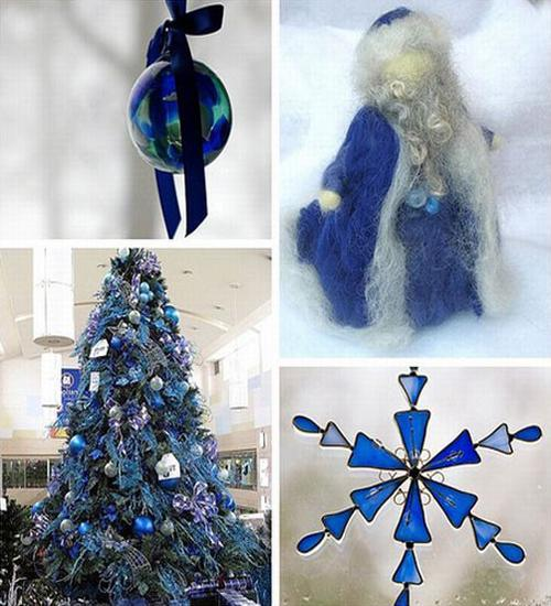 Christmas Tree Decorations In Rich Blue Color