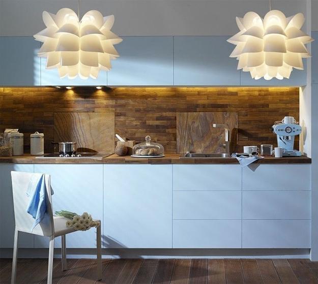 Light Blue Kitchen Cabinets And Salvaged Wood Backsplash Design