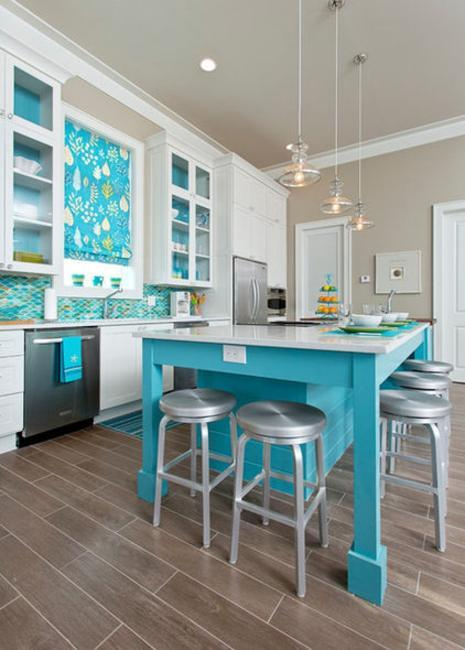 Tips For Kitchen Color Ideas: How To Add Blue Color To Modern Kitchen Design And Decorating